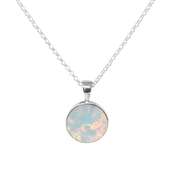Silver Opalite Sun Ice Round Pendant