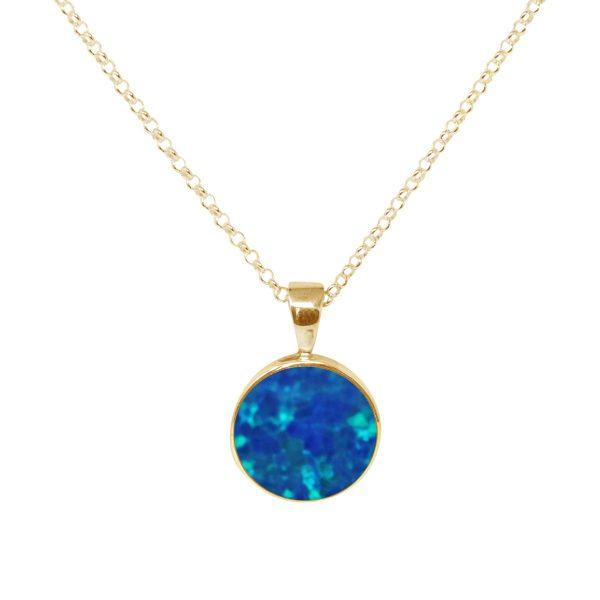 Yellow Gold Opalite Cobalt Blue Round Pendant