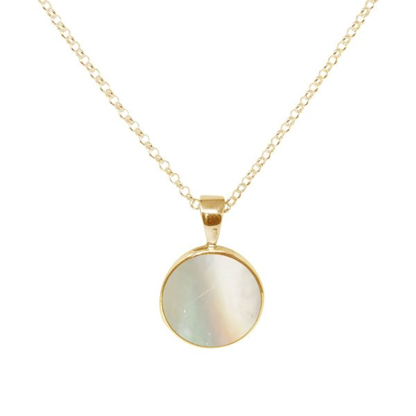 Yellow Gold Mother of Pearl Round Pendant