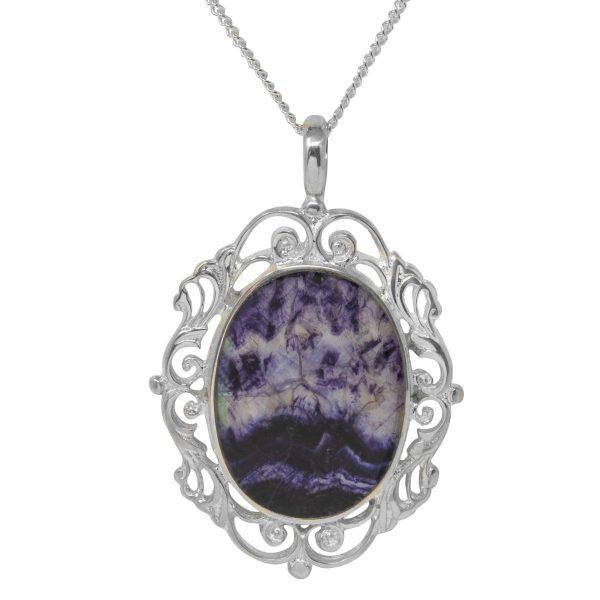 Silver Blue John Ornate Pendant