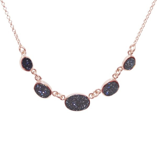 Rose Gold Blue Goldstone Five Stone Necklace