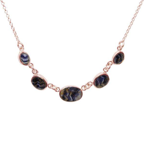 Rose Gold Blue John Five Stone Necklace