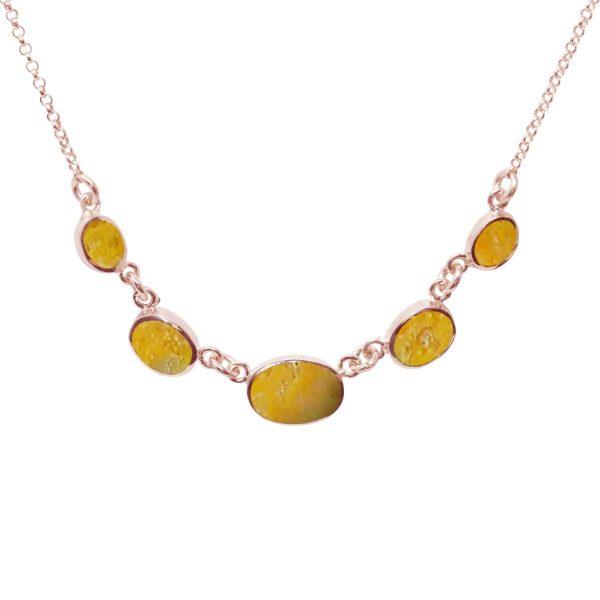 Rose Gold Bumblebee Jasper Five Stone Necklace