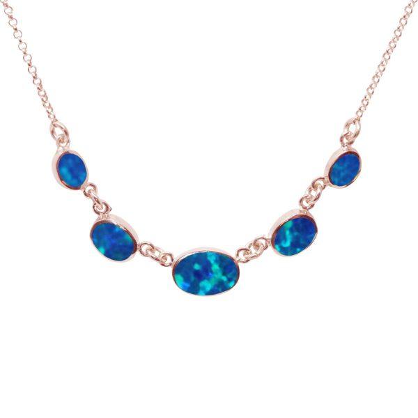 Rose Gold Cobalt Blue Opalite Five Stone Necklace