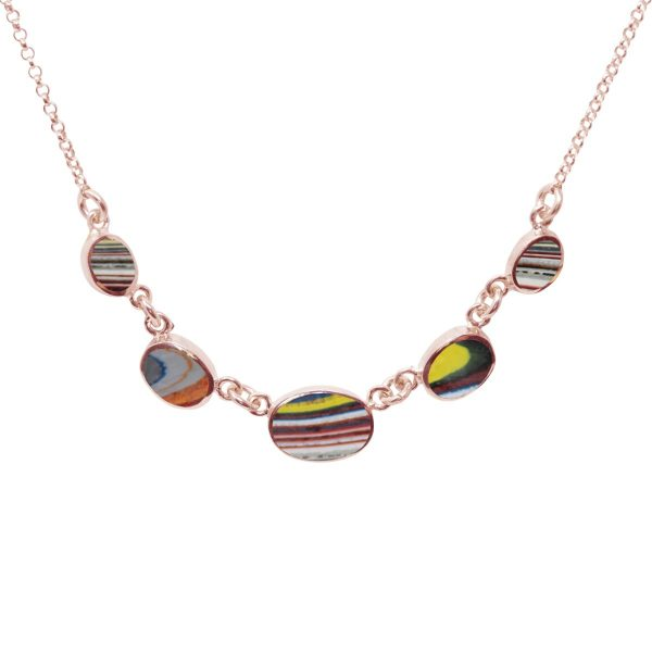 Rose Gold Fordite Five Stone Necklace