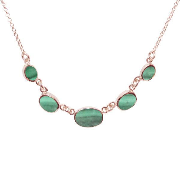 Rose Gold Malachite Five Stone Necklace