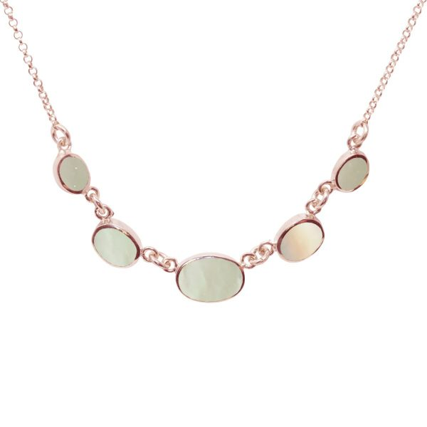 Rose Gold Mother of Pearl Five Stone Necklace