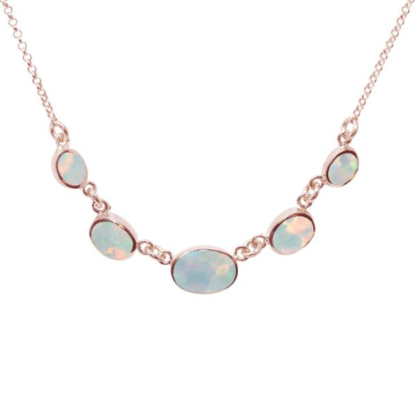 Rose Gold Opalite Five Stone Necklace