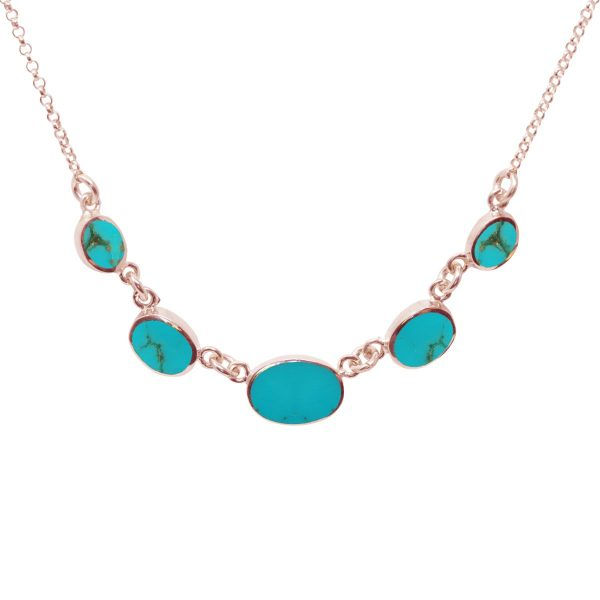 Rose Gold Turquoise Five Stone Necklace