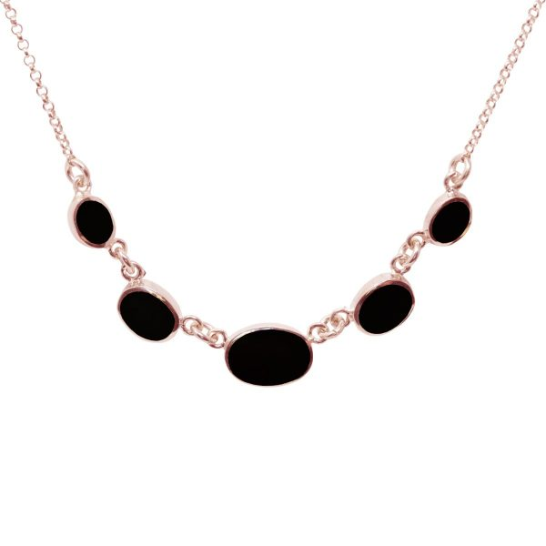 Rose Gold Whitby Jet Five Stone Necklace