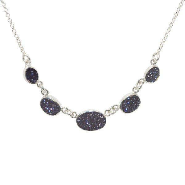 Silver Blue Goldstone Five Stone Necklace
