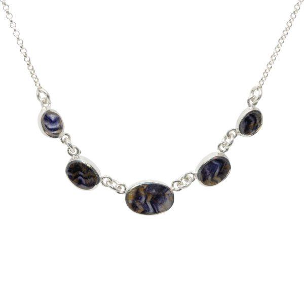 Silver Blue John Five Stone Necklace