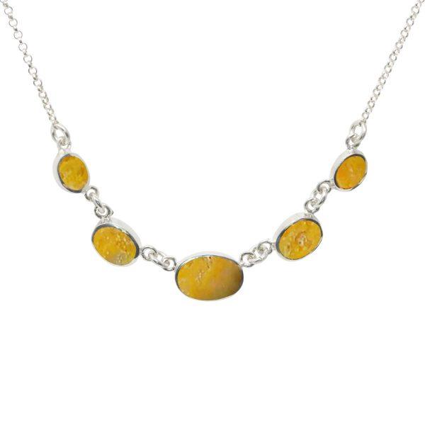 Silver Bumblebee Jasper Five Stone Necklace