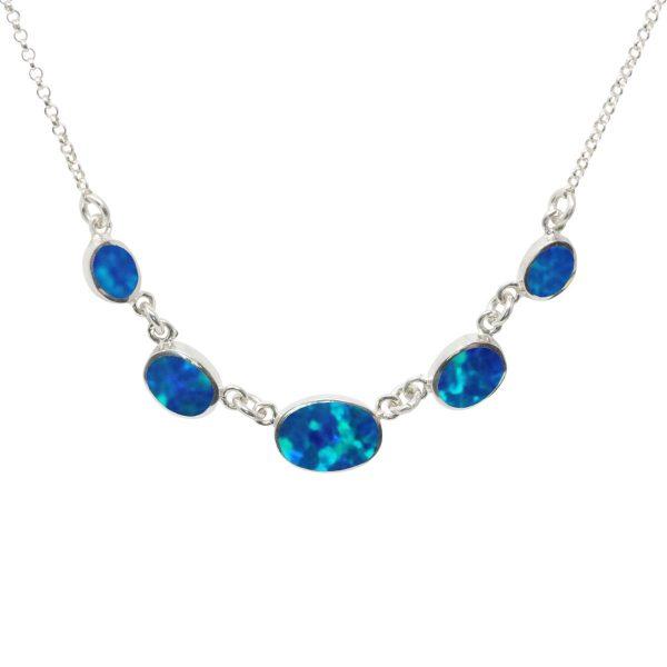 Silver Coablt Blue Five Stone Necklace