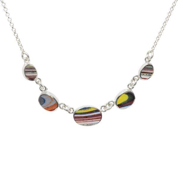 Silver Fordite Five Stone Necklace