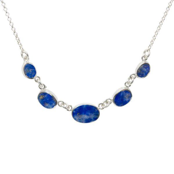 Silver Lapis Five Stone Necklace