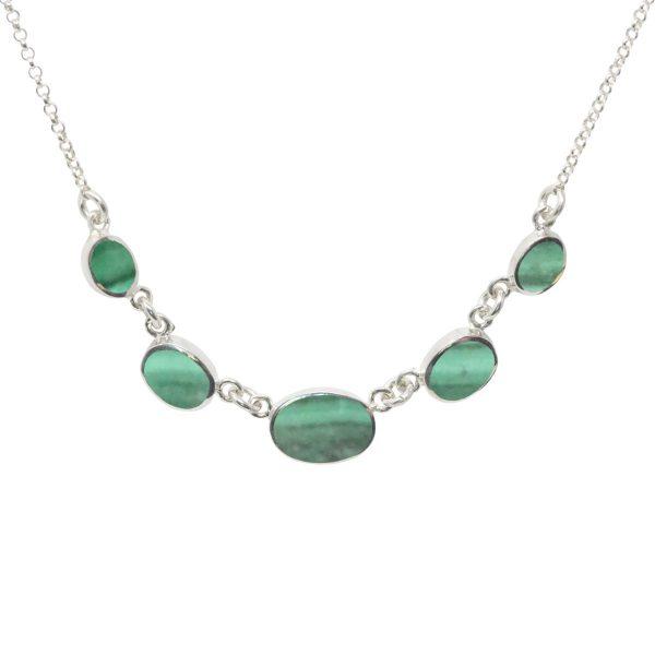 Silver Malachite Five Stone Necklace