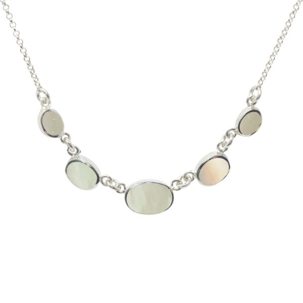 Silver Mother of Pearl Five Stone Necklace