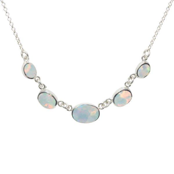 Silver Opalite Sun Ice Five Stone Necklace