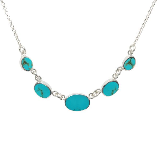 Silver Turquoise Five Stone Necklace
