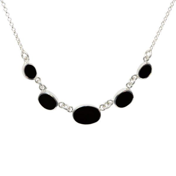 Silver Whitby Jet Five Stone Necklace
