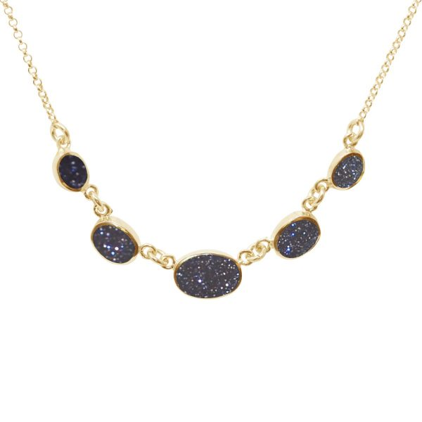 Yellow Gold Blue Goldstone Five Stone Necklace