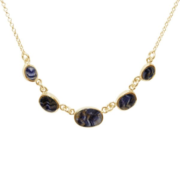 Yellow Gold Blue John Five Stone Necklace