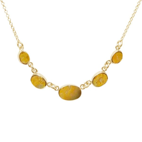 Yellow Gold Bumblebee Jasper Five Stone Necklace