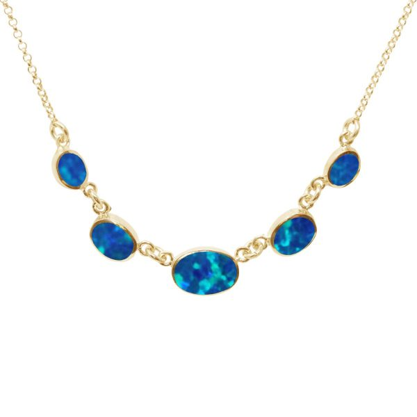 Yellow Gold Opalite Cobalt Blue Five Stone Necklace