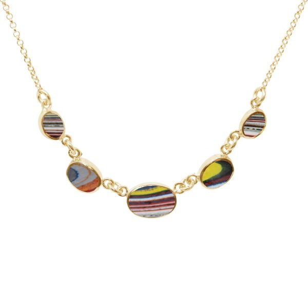 Yellow Gold Fordite Five Stone Necklace
