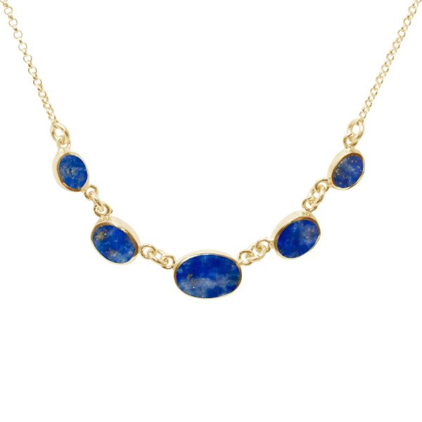 Yellow Gold Lapis Five Stone Necklace
