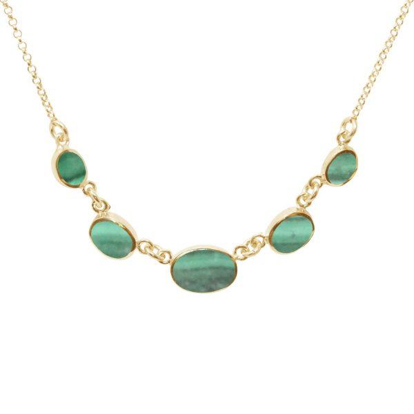 Yellow Gold Malachite Five Stone Necklace