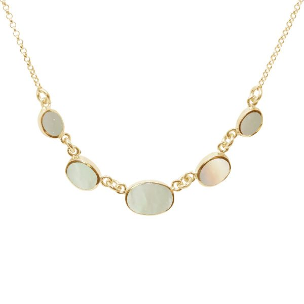 Yellow Gold Mother of Pearl Five Stone Necklace