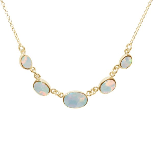 Yellow Gold Opalite Sun Ice Five Stone Necklace