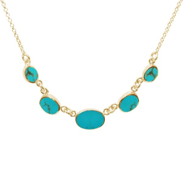 Yellow Gold Turquoise Five Stone Necklace