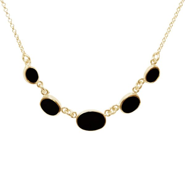 Yellow Gold Whitby Jet Five Stone Necklace