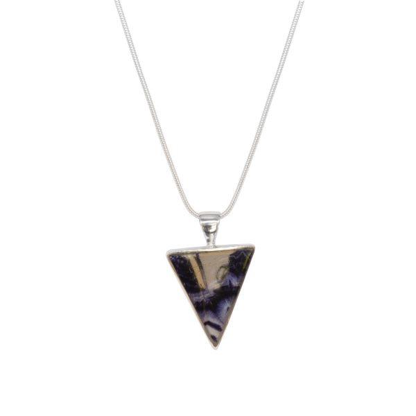Silver Blue John Triangular Pendant