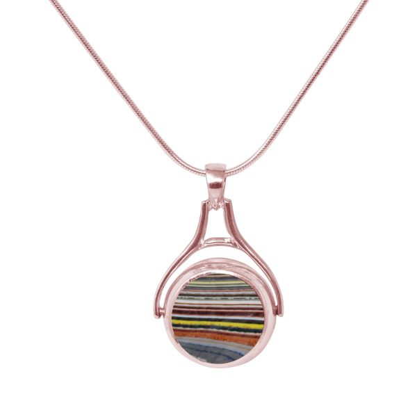 Rose Gold Fordite Round Double Sided Pendant