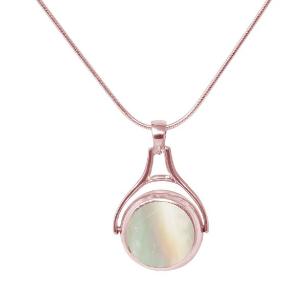 Rose Gold Mother of Pearl Round Double Sided Pendant