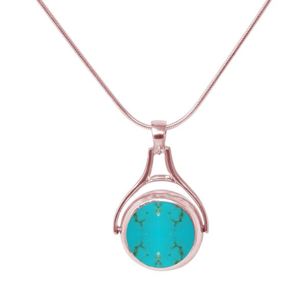 Rose Gold Turquoise Round Double Sided Pendant
