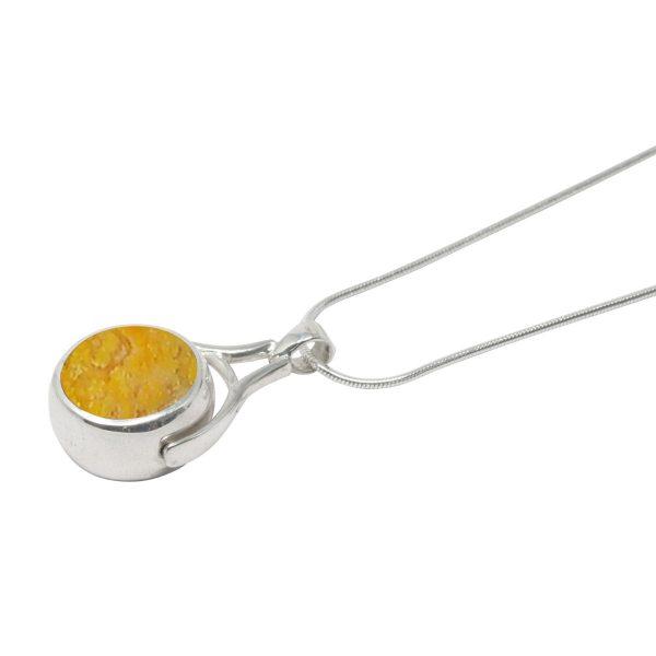 White Gold Bumblebee Jasper Round Double Sided Pendant