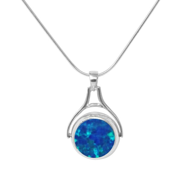 White Gold Opalite Cobalt Blue Round Double Sided Pendant