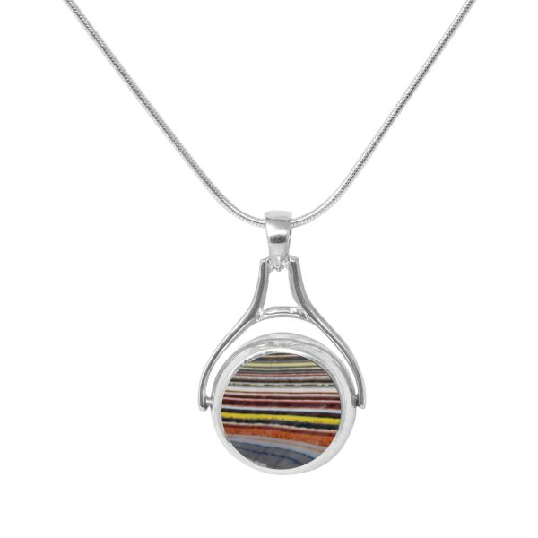 White Gold Fordite Round Double Sided Pendant