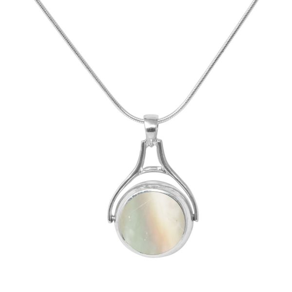White Gold Mother of Pearl Round Double Sided Pendant