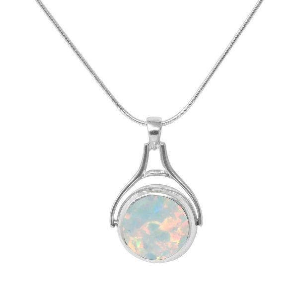 White Gold Opalite Sun Ice Round Double Sided Pendant