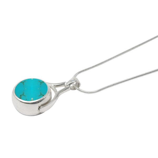 White Gold Turquoise Round Double Sided Pendant