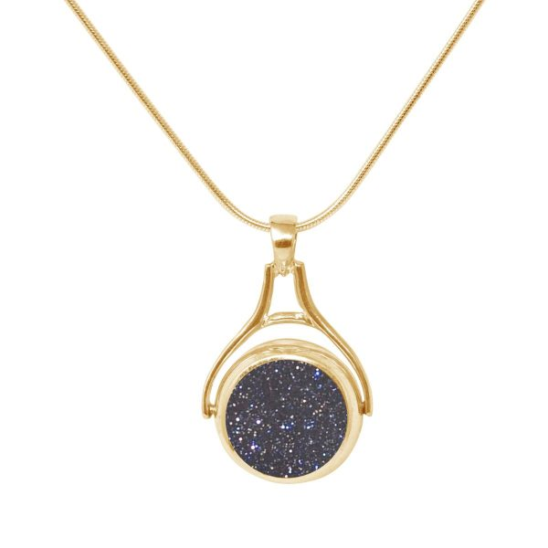 Yellow Gold Blue Goldstone Round Double Sided Pendant