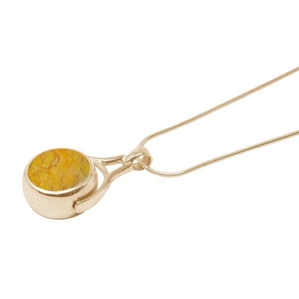 Yellow Gold Bumblebee Jasper Round Double Sided Pendant
