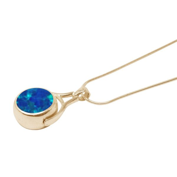 Yellow Gold Cobalt Blue Opalite Round Double Sided Pendant