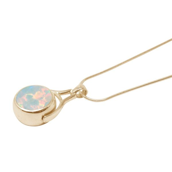 Yellow Gold Opalite Sun Ice Round Double Sided Pendant